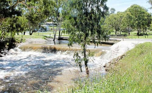 Water was yesterday still flowing rapidly at the Queen's Park weir.