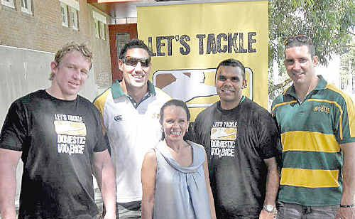 Aaron Sweeney and David Tangata-Toa from the Windsor Wolves, Willie Hammond from Northern United and Ryan Walker from the Wolves. Minister Burney in front.