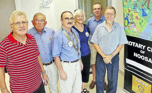 Rotarians Andrew Kirkham, Gale Duffield, Len Tyler, Jean Sherrell-Alexander, Max Stevens and David Stinson.