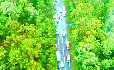 AERIAL SCENE OF HIGHWAY: An image taken by the Westpac Lifesaver Rescue Helicopter as it prepares to land at the accident yesterday.