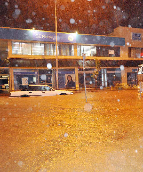 THAT FATEFUL NIGHT: The city centre flooding on March 31 last year.