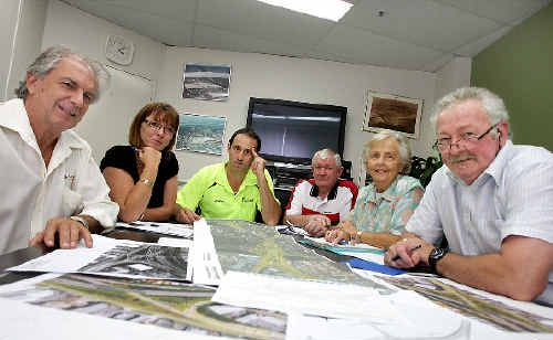 Tweed Heads South Business Focus Group members Barrie Green, Kathryn Mills, Rory Curtis, John Sweeney, Pat Tate and Terry Plant meeting yesterday. Photo: CRYSTAL SPENCER