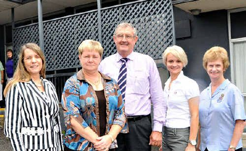 HELPING HAND: Cr Donna Neilson, Marlene Owen, Gympie Regional Mayor Ron Dyne, Trena Jane Rowland and Mary Brown at the units now ready for use by chemotherapy patients