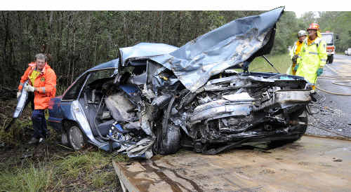 The crumbled remains of the car in which a Queensland husband and wife lost their lives after being hit head-on by a car driven by a 17-year-old P-plater south of Woodburn.