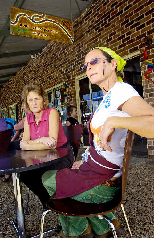 Kerry O'Connor (left) and Dianne Mancell owners of the River Junction Cafe and Pizzeria in Coraki are disappointed about the Richmond Valley Council's ruling that prohibits BYO alcohol from being consumed on the footpath outside their cafe.