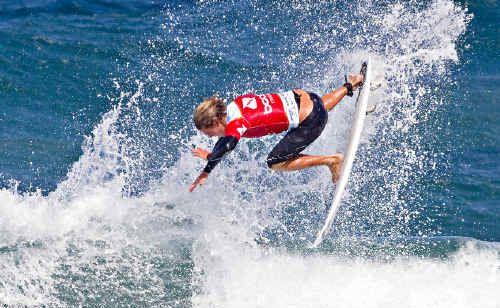Sunshine Coast trickster Nick McDonald rips up the surf at Bondi Beach yesterday.