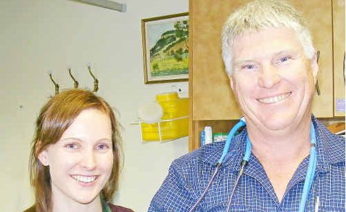 Medical student Katherine Fuller with Condamine Medical Centre doctor Ross Hetherington.
