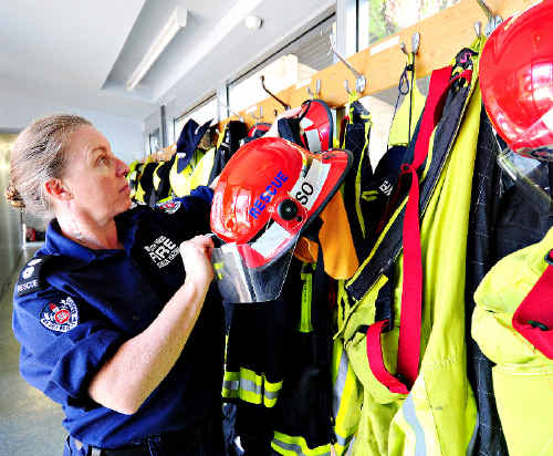 Station officer Sally Foote returns to Coffs Harbour Fire Station after a callout.