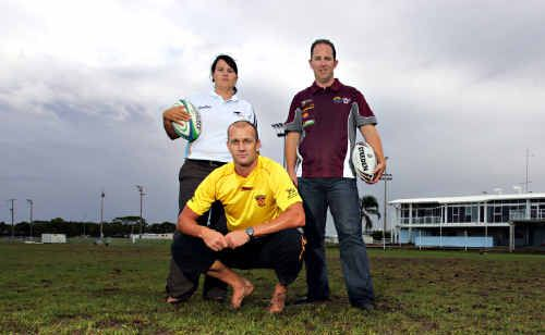 Stingrays operations manager Tamara Sheppard, Sea Eagles CEO Justin Veivers and Sunshine Coast Fire's Shaun Blackman are worried about the state of the fields at Stockland Park.