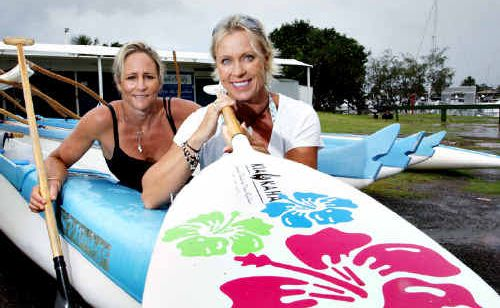 Kirsty Holmes (left) and Lisa Curry will compete at the National Outrigger Titles at Mooloolaba next month.