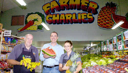 Farmer Charlies Lismore, store manager Daryl Smith (left), group development manager Pete Neil, and supervisor Demi Schaefer have big plans for the rescued retailer.