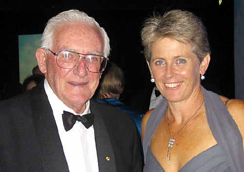 IN EXALTED COMPANY: Lismore's Lyn Larsen with Australian cricket great, Alan Davidson, at the Cricket NSW Hall of Fame induction.