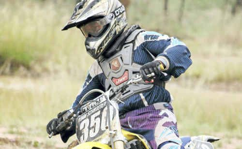 Warwick District Dirt Bike Club member Adam Schroeder in action on Sunday at Morgan Park.