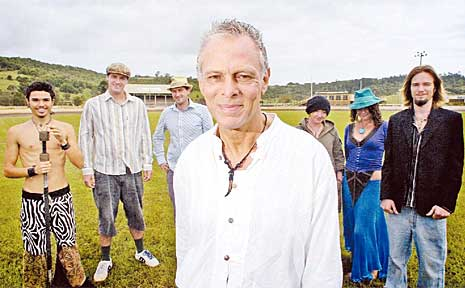 Sonic Festival organiser Malcolm Fine with performers and helpers Lance Bloomfield (left), Shannon Waddy, Jim Yates, Moss Ingles, Nicky Malcolm-Dinee and Yosir Le Cerf at Lismore Showground.