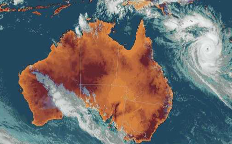 The latest imagery of Cyclone Ului from the Bureau of Meteorology.
