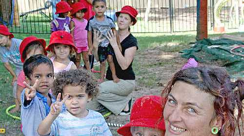 Jo teaches her circus skills to the children at Jarjum Preschool in Lismore.