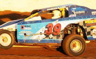 Phil McNamara in his V8 Dirt Modified.