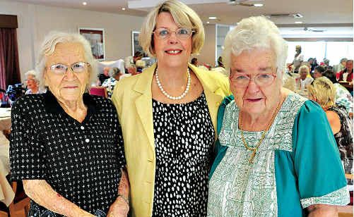 At the first birthday celebrations of Buderim Views Aged Care Facility are (from left) newest resident Violet Goodall, manager Di Weeks and first resident Doris Corr.