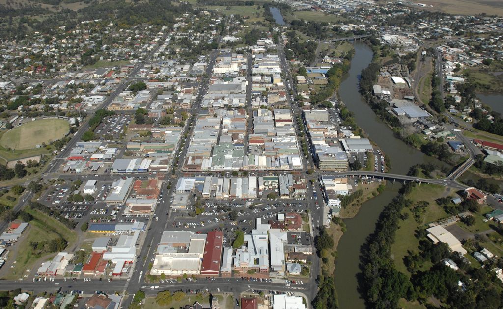 Lismore CBD from the air