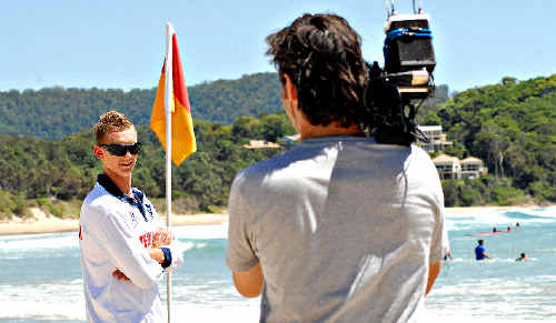 TOPICAL TOPIC: A Bondi Rescue scene being filmed at Diggers Beach.