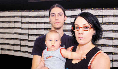 Daniel and Tory Hardey, of Lismore, with son Toki, nine months, visited the Centrelink Jobs Expo looking for work.