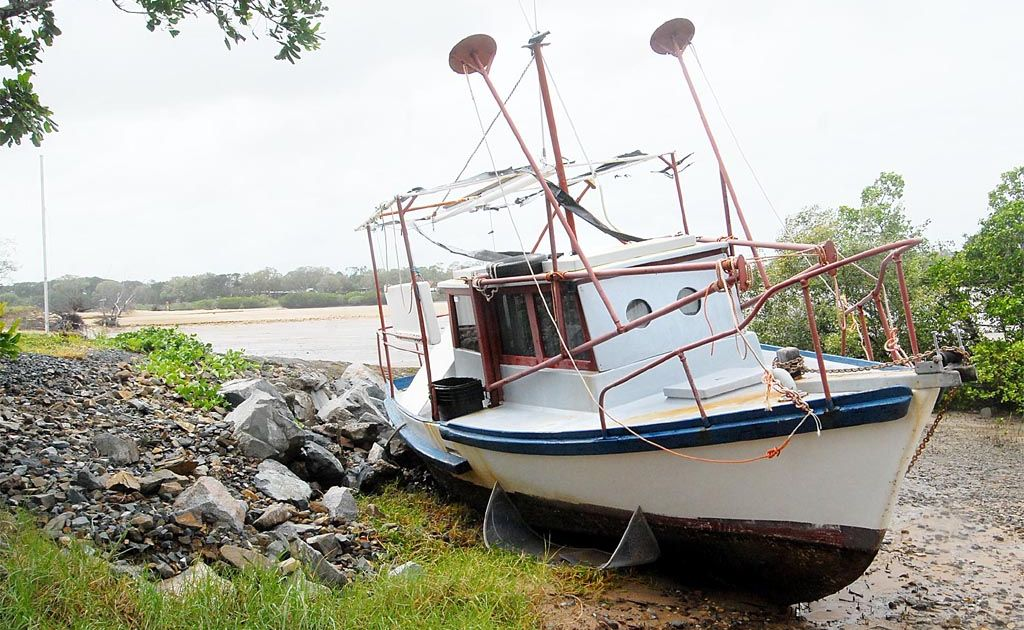 This boat was washed up on the bank near the Bucasia Boat Ramp.