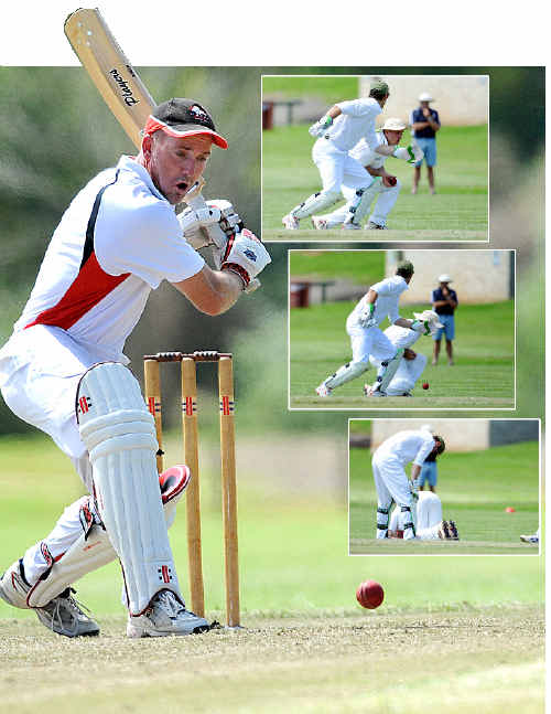 On a roll: PBBC Colts century-maker Craig Haworth eyes the flight of the ball for another drive to the boundary. Insert: The moment Dorrigo's day turned feral ... Haworth is dropped for the first time on 15.