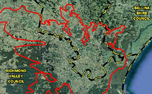 Flood hot spots: The Richmond River floodplain, highlighted in red, has been the subject of a five-year study, culminating in the release of the new Richmond River Flood Model.