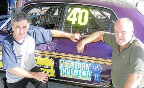 (From left) Second placegetter Joe McGinnes and organiser Rod Dale after the McHitch Touring Car Challenge in the Independent Race Meeting at Morgan Park Raceway.