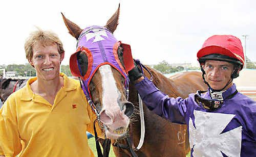 PHE 100 Club Cup winner Frisco's in Charge, trainer Trevor Thomas and jockey Tyrone Huxham were happy to be victorious in the weekend's feature race.