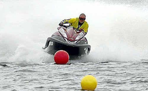 Brett Harris of Boyne/Tannum in action during the jet ski club race day at Awoonga Dam in Benaraby.