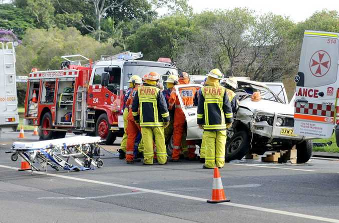 Emergency services spent almost an hour trying to free a driver from his Hilux ute after the ute collided with a prime mover on Ballina Road at Alstonville today.