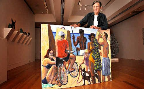 Ted Hillyer with his artwork Summer which was painted in 2009.