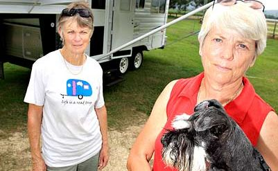 MARCH 20: Lorraine McGregor and Anne-Marie Boyle say they will not stop in Murwillumbah if they are not allowed to camp in the showgrounds, which are close to the CBD. A secretly imposed council ban on camping in the showgrounds has shocked the showground trust, town businesspeople, campers and even Tweed Mayor Warren Polglase.