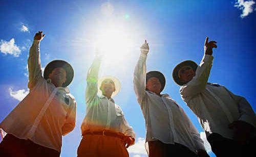 Terry Brien, Bruce Baxter, Jeff Hackett and Peter Ryan get ready for this weekend's cricket grand final umpiring duties.
