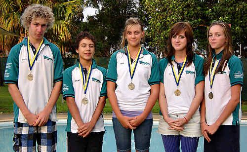 Gympie Region age champions from the Cooloola Coast Crocs Swimming Club are (from left) Beau-Daniel Kenney, Jarrad Madgwick, Aimee Kreibke, Tori Ross and Rachel McFarlane.
