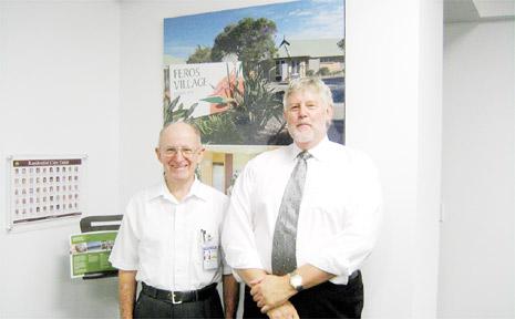 Stepping down: Keith Castle (left) with new Feros Board chairman Stuart Garrett.