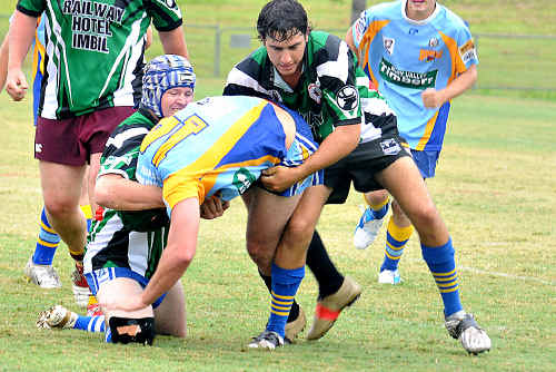 The long-awaited Mary Valley Stags in action against the Devils in a trial game.