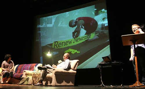 Kim Spinks from Arts NSW and Lismore city centre manager Stephen Nelson on stage at the Star Court Theatre last week while Marcus Westbury explains the benefits of the Renew Newcastle project.