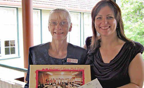 Richmond River High School music teacher Sheryl Williamson (left) with Rebekka Battista from Our Kids.