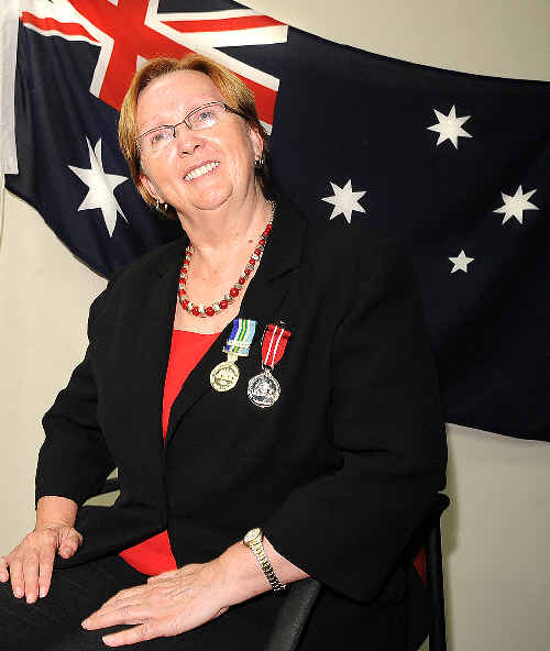 Cr Lynette Zito, of Sextonville, received the Australian Defence Medal yesterday for her contributions to the Women's Royal Australian Navy Service.