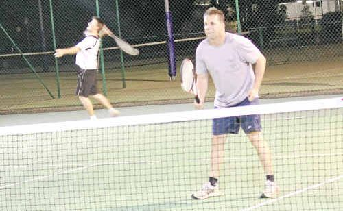 Darren Shuptrine and Chris Blackman at the Warwick Tennis Association courts in the run up to Adult Doubles Day.