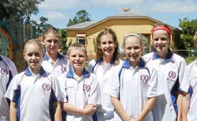 Southern Downs swimmers in the regional team (back, from left) Abbey Pout, Bronte Collins, Caitlin Hill, Dimity Brackin, (front) Kelsey Hogar, Jesse Wallace, Larissa Millard and Michael Coleman.