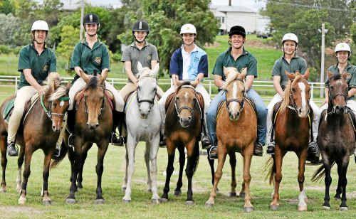State pony squad members (from left) Tim Eastwell, Tamara Bondfield, Selena Madsen, Nathan Brown, Ben Eastwell, Callum Miller and Tim Burraston.