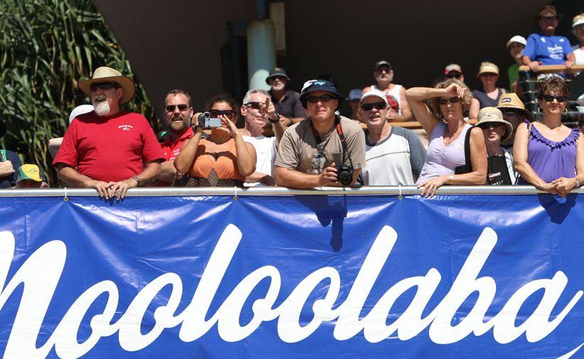 A big crowd checks out the Mooloolaba ocean swim.