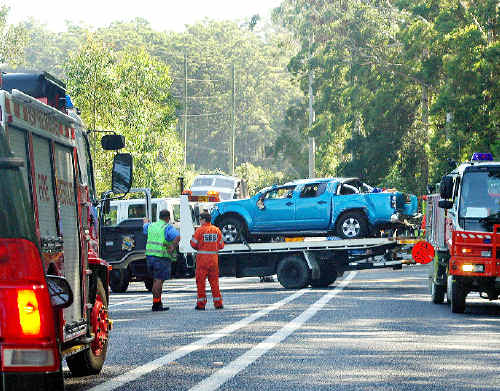 Advocate reader David Bromley took this image of the accident at Hungry Head on the Pacific Highway.