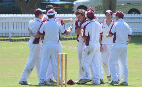 Brothers fieldsmen celebrate the dismissal of Westlawn batsman Daniel Amos.