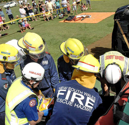 Emergency workers at a mock accident scenario demonstrating their roles during the launch of the Driver Survivor campaign in Ballina yesterday.