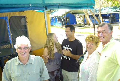 Tent city: Suffolk Beachfront Holiday Park manager Paul Brooks (left) and guests Jennifer Hamilton, John Coulombe, Heather and Rex Trumble admire the permanent tents set up for Bluesfest.
