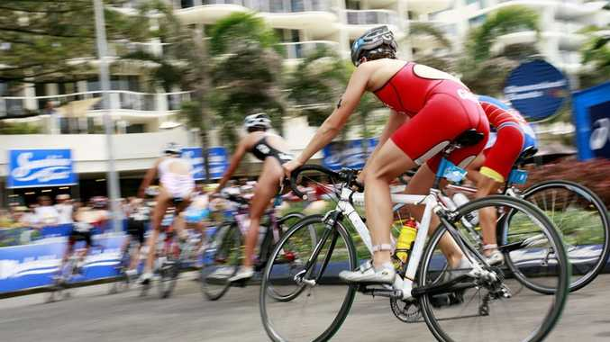 Competitors in the bike leg of the ITU World Cup women's race during the 2010 Mooloolaba Triathlon Festival.